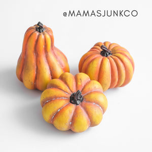 Orange Resin Pumpkins | Set of 3 - Mama's Junk Co.