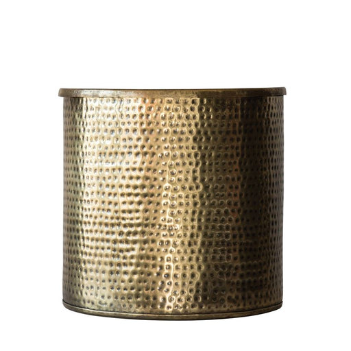 Hammered Metal Drum Table with Lid