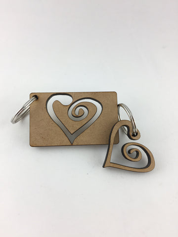 Love hearts - couple's keyring