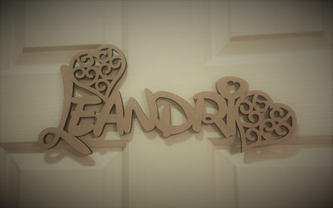 Love heart Bedroom Door Name Signs (Un-decorated)