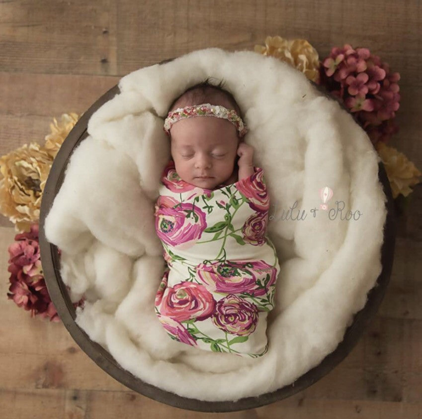 Floral Swaddle Blanket | Annabelle Rose Nursie Hug Baby Blanket | Best Baby Swaddle Blanket