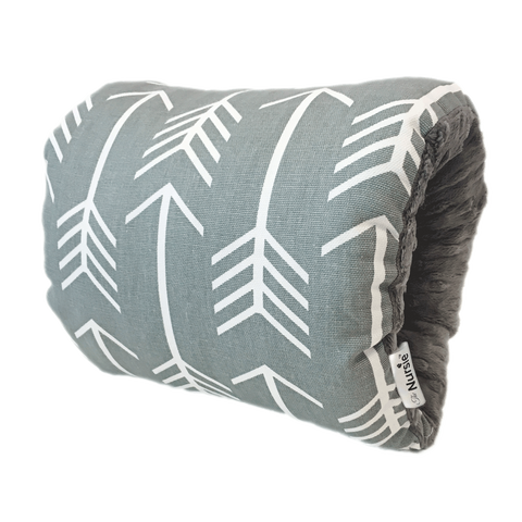 Gray and White Arrow Breastfeeding Pillow | Best Baby Nursing Pillow | The Nursie Travel Arm Pillow | Popular Baby Shower Gift | Lucky Southern