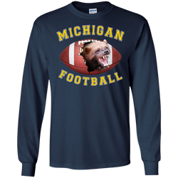 "Jake Custom Apparel University Of Michigan 3D ""MICHIGAN FOOTBALL"" Long Sleve T-Shirt"