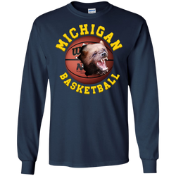 University Of  Michigan Basketball Tee Shirt With Clasic 3D Graphic Design Michigan Long SleeveTee Shirt
