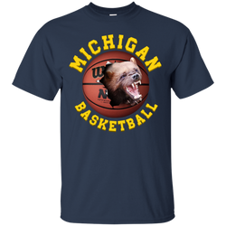 University Of  Michigan Basketball Tee Shirt With Clasic 3D Graphic Design Michigan Tee-Shirt