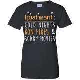 "Jake Custom Apparel Women's Camping Tee Shirt "" I Just Want Cold Nights Bon Fires & Scary Movies Tee Shirt"
