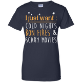 "Jake Custom Apparel "" I Just Want Cold Nights Bon Fires & Scary Movies Tee Shirt"
