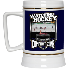 Watching Hockey With My Dog Custom Beer Stein 22oz.