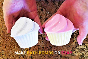Cupcake Bath Bomb Mold - Make Bath Bomb Cupcake Easy by Ian's Choice 12 Sets Cupcake Container Soap Mold and More