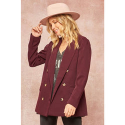 Solid Double-Breasted Boyfriend Blazer - Merlot