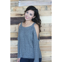Bianca Cold Shoulder Cable Knit Sweater