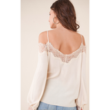 Just One Touch Lace Trim Blouse