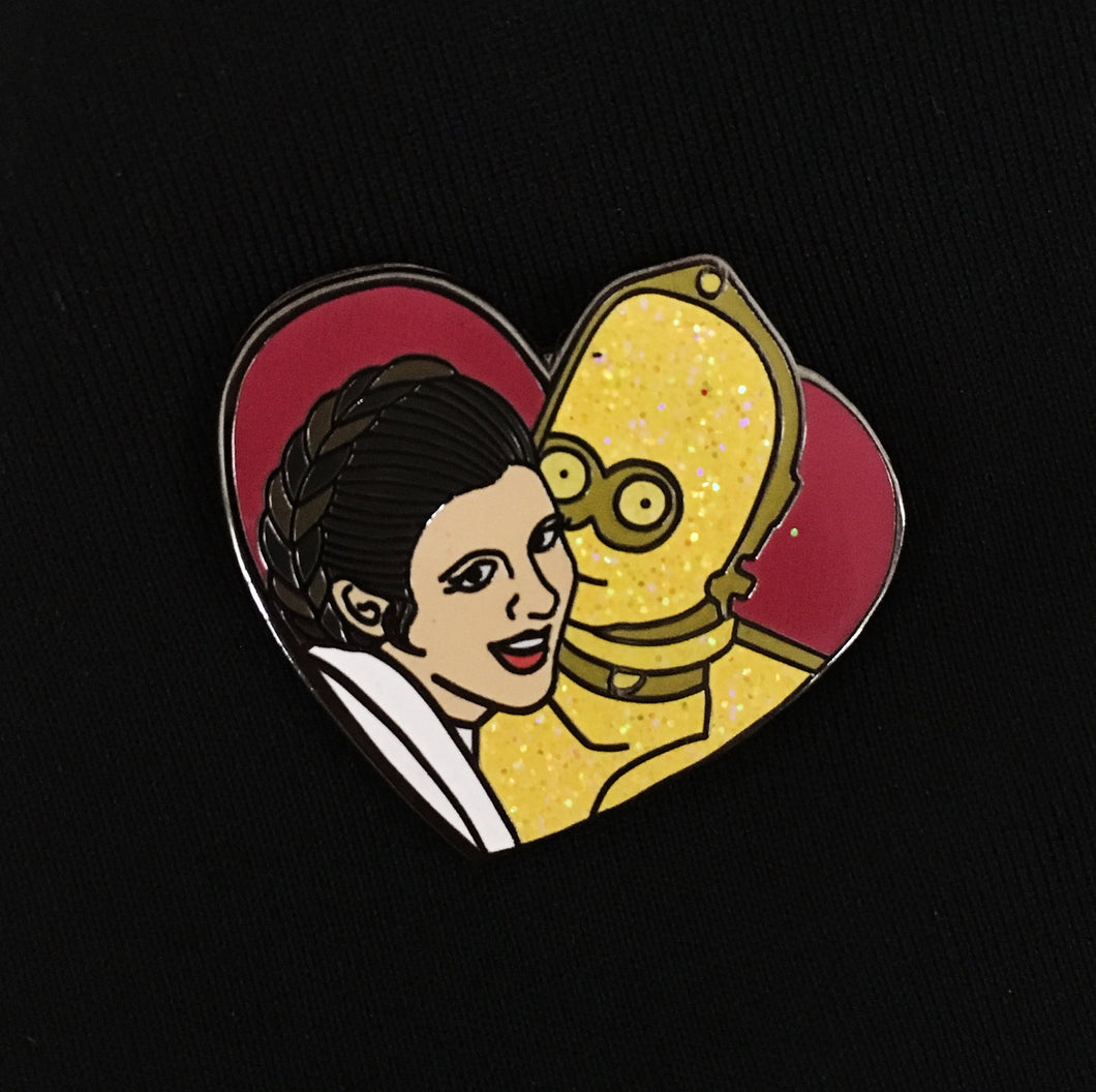 Princess Leia C3PO love enamel pin