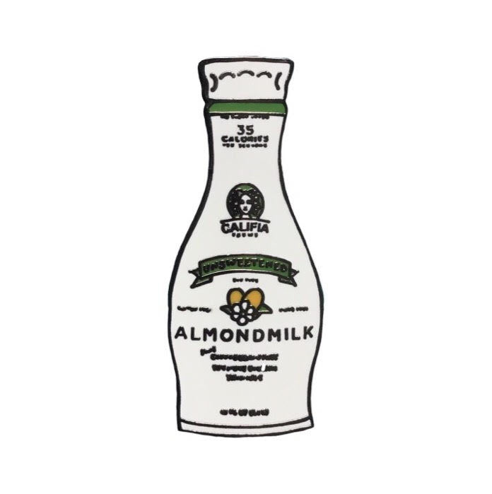 Califia unsweetened plant based vegan almond milk enamel pin