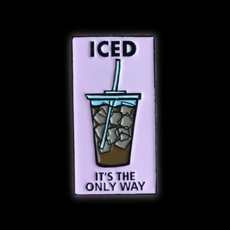 Ice coffee enamel pin