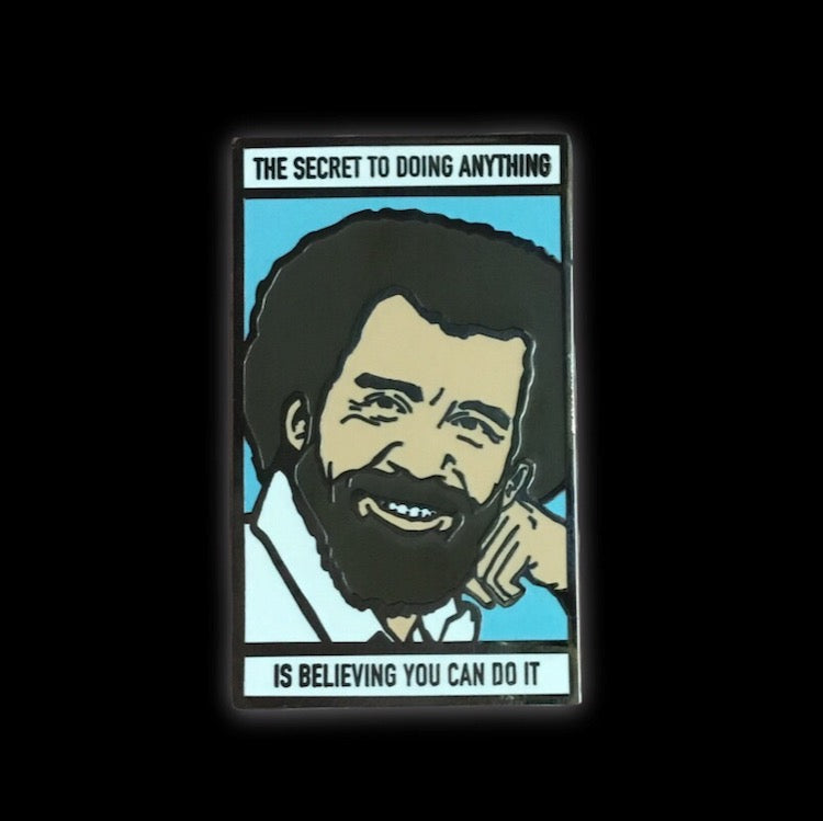 the secret to doing anything meme enamel pin