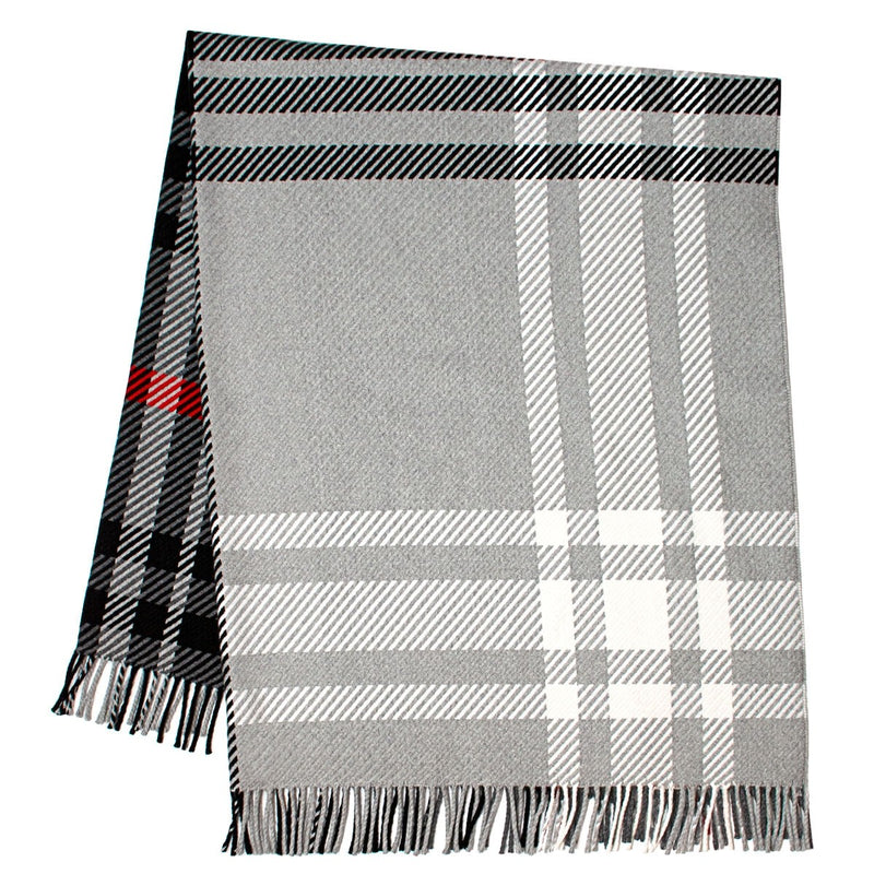 Darcy Graphite Tartan Superfine Wool Throw