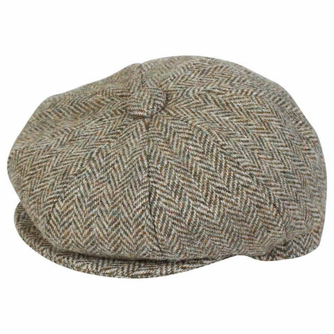 Black & White Herringbone Baker Boy Cap