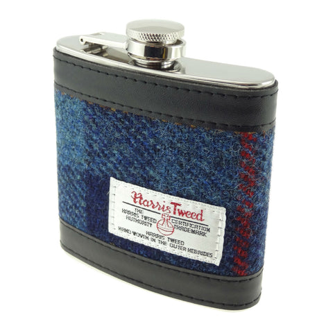 Dark Blue Tartan Harris Tweed 6oz Hip Flask