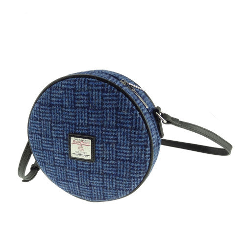 Blue Basket Weave Harris Tweed Round Handbag