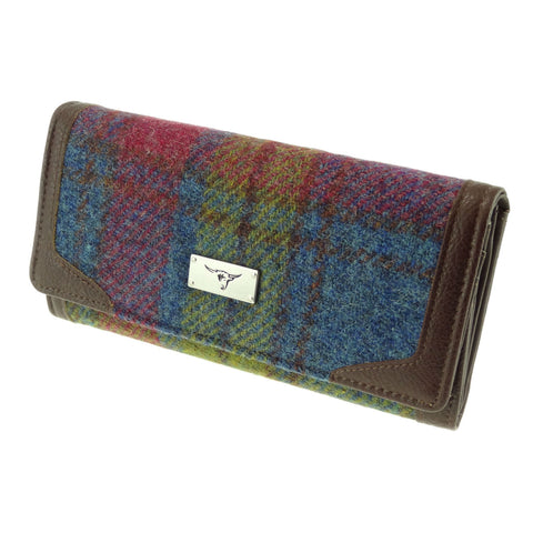 Multi Colour Tartan Harris Tweed Long Purse