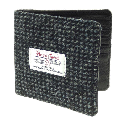 Black/White Fleck Harris Tweed & Leather Wallet
