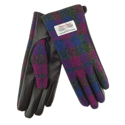 Heather Check Harris Tweed & Brown Leather Gloves