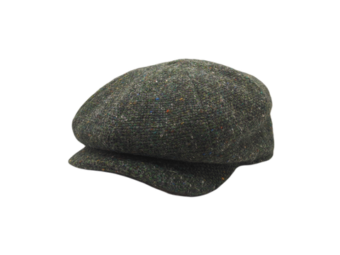 JP Tweed Cap - Dark Green Barleycorn