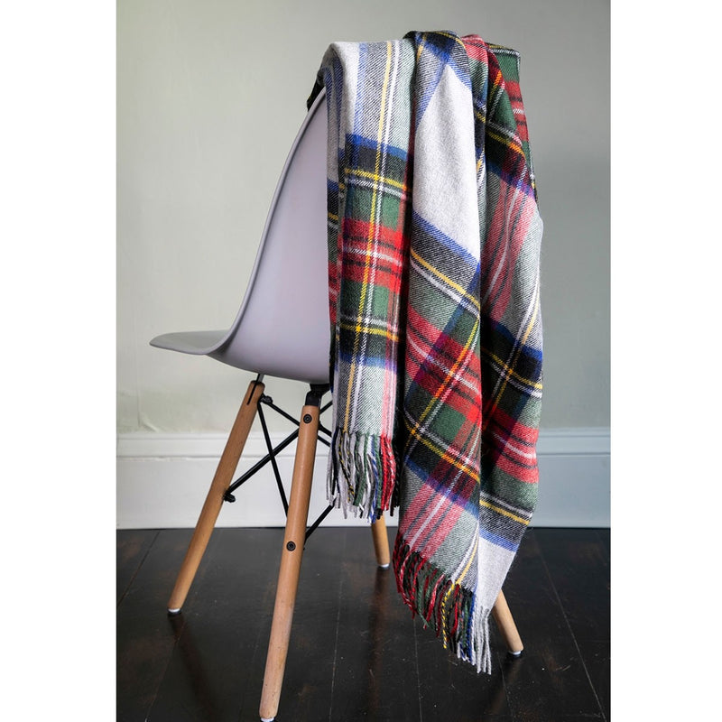Stewart Silver Dress Tartan Lambswool Blanket