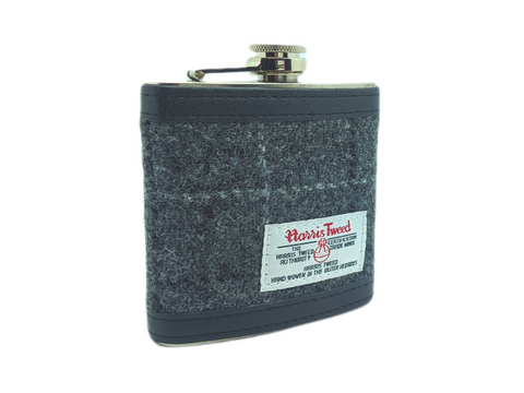 Grey Check Harris Tweed 6oz Hip Flask