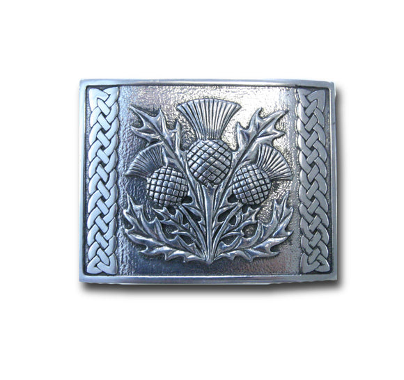 Thistle Belt Buckle with Celtic Weave