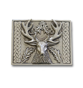 Stags Head Belt Buckle with Celtic Weave