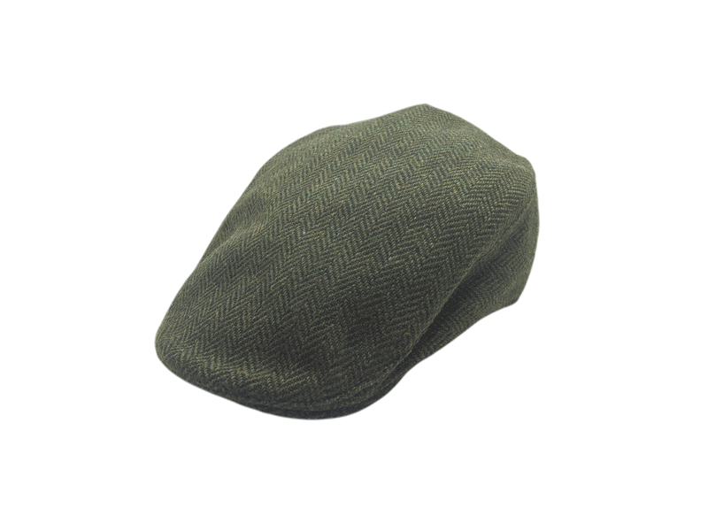 Donegal Tweed Touring Cap - Green Herringbone