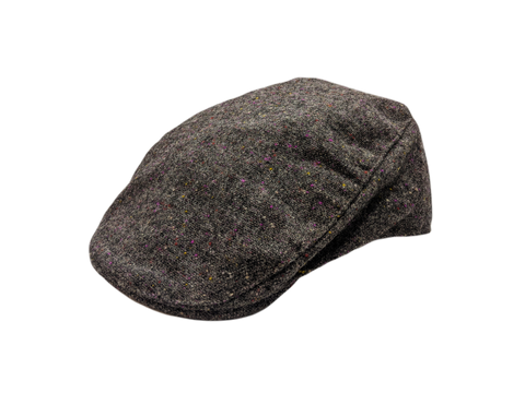 Donegal Tweed Touring Cap - Grey Barleycorn