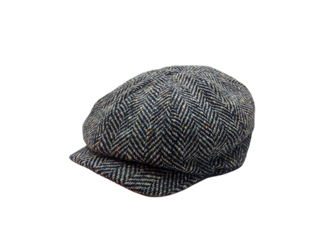 JP Tweed Cap - Black & White Herringbone