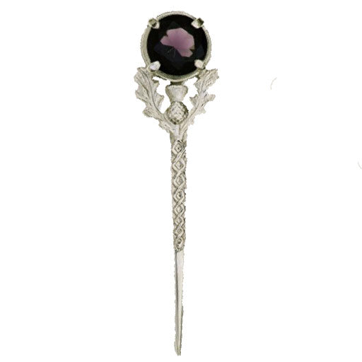 Scottish Thistle Kilt Pin (Large Amethyst)