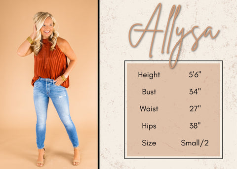 Allysa's height and size information