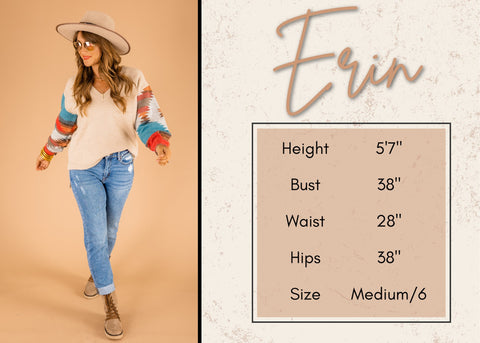 Erin's height and size information