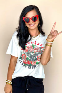 woman wearing Guns and Roses graphic tee fashion