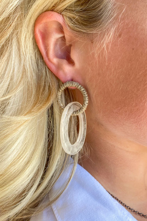 close up of woman wearing linked drop earrings