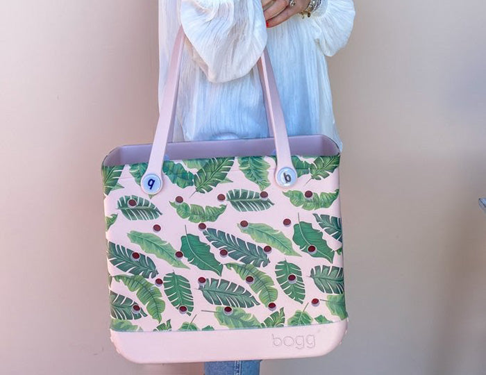 small Bogg bag with palm leaf print