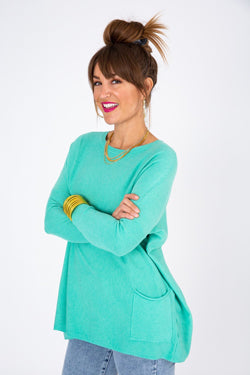 Turquoise oversize sweater with pockets