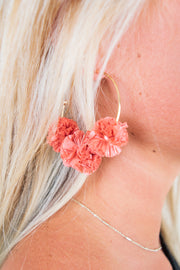 Willow Earrings Dark Coral/Gold - The Willow Tree Boutique