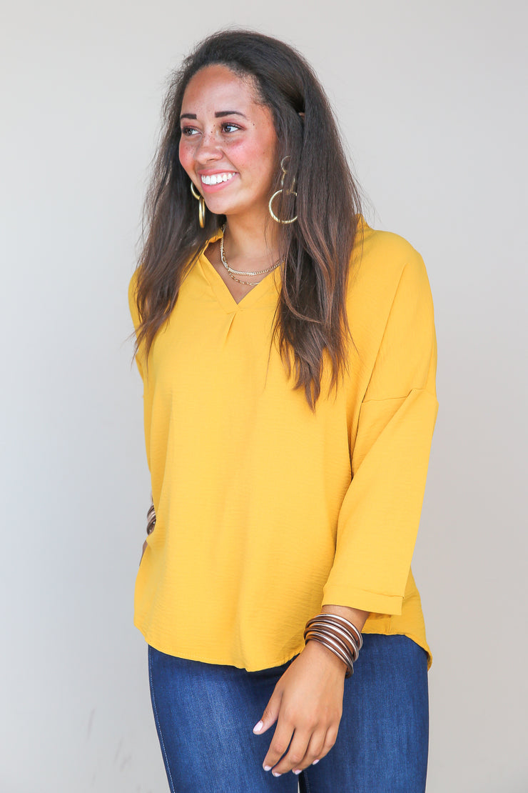 Golden Mind Pleated Top - FINAL SALE