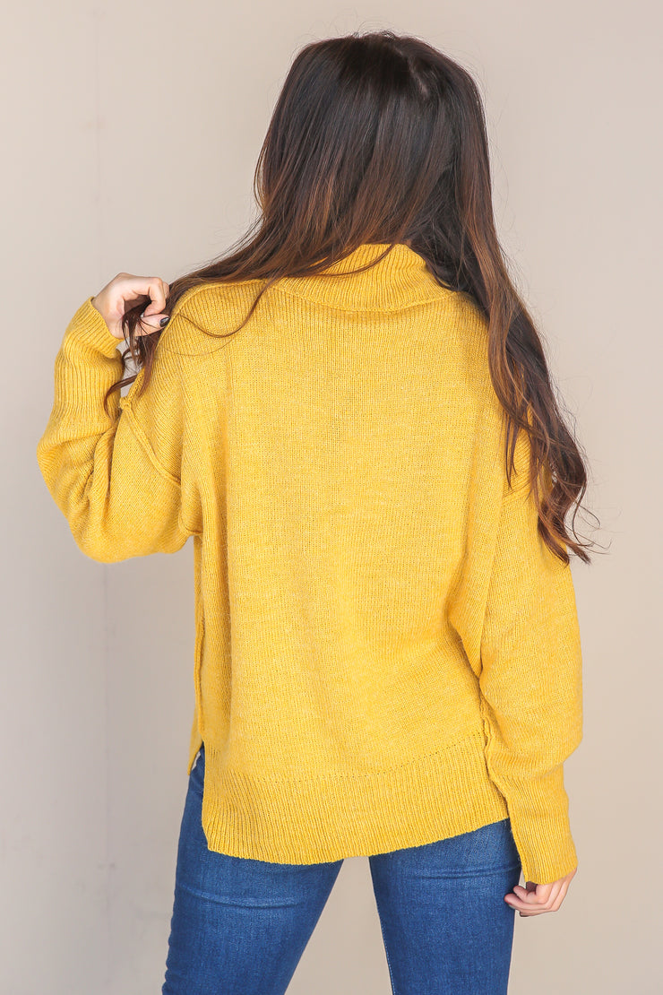 Steal My Time Mock Neck Sweater