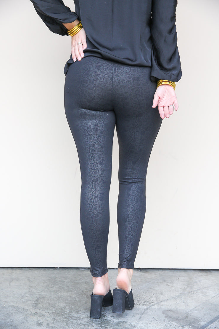 Coated Snake Ponte Legging | Democracy