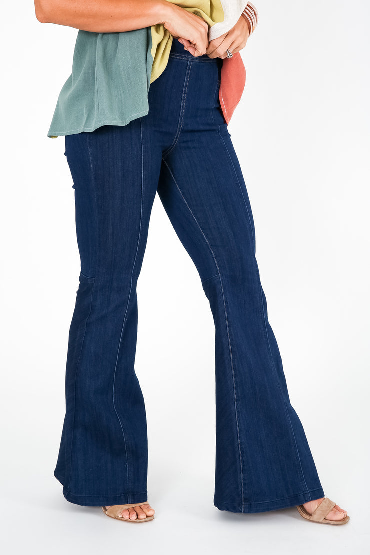 Break It Down Pull On Flare Jeans