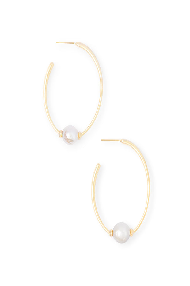 Regina Earring Gold Pearl - The Willow Tree Boutique