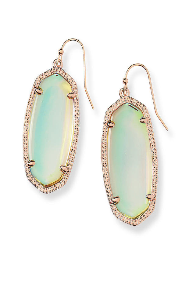 Elle Rose Gold Drop Earrings in Dichroic Glass - The Willow Tree Boutique