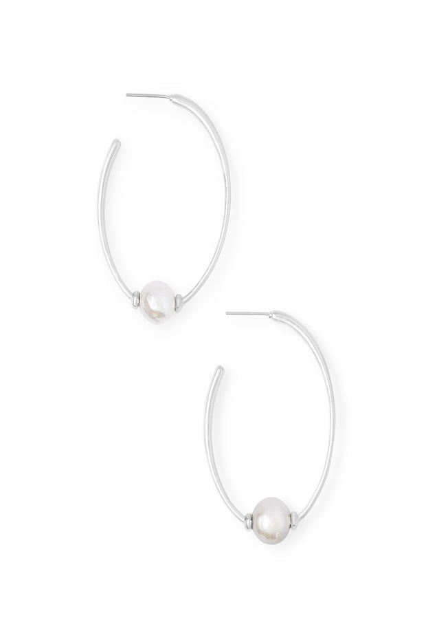 Regina Bright Silver Hoop Earrings in Pearl - The Willow Tree Boutique